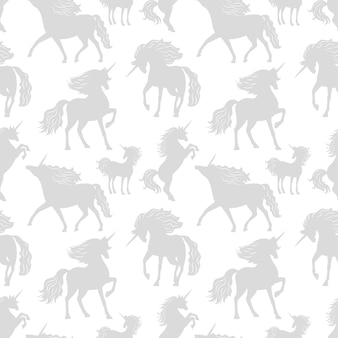 Horses unicors gray silhouettes seamless pattern