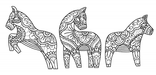 Horses with flowers doodle decoration, coloring page