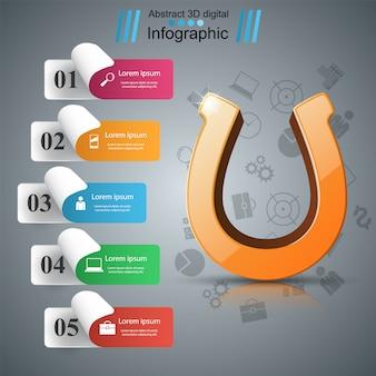 ホースシュー3Dアイコン - ビジネスinfographic。