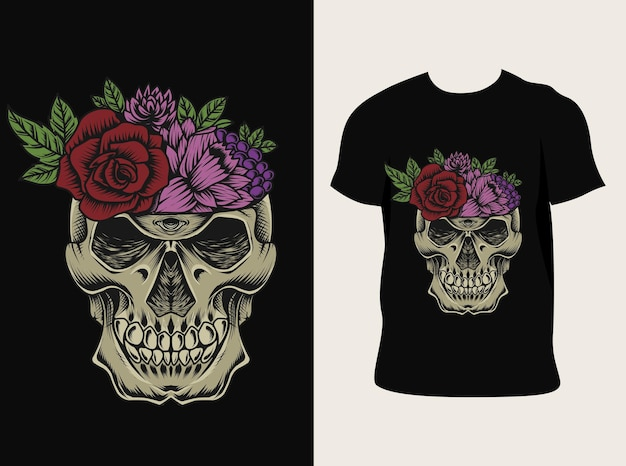 Tシャツデザインのhorsskull花