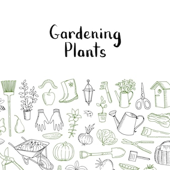 Horticulture and plants sketch. vector gardening background