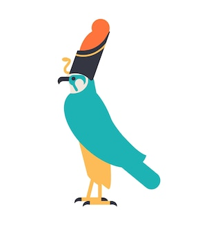 Horus - 하늘의 신, 수호신 또는 이집트 왕관을 쓰고 있는 매로 묘사된 신화적 생물. 고대 이집트 신화의 전설적인 캐릭터. 평면 스타일의 다채로운 벡터 일러스트입니다.