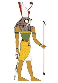 Horus, 고대 이집트 신의 고립 된 그림 프리미엄 벡터