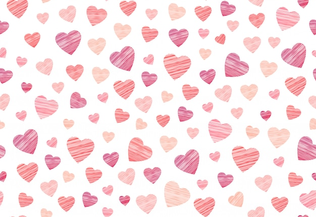 Hosiery heart seamless pattern in embroidery  on the white background.