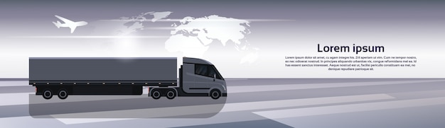 Hosizontal banner wih semi truck trailer vehicle over world map worldwide cargo shipping and delivery concept