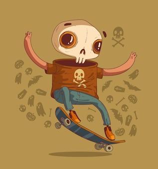할로윈 파티 손님을 위해 스턴트를 하는 친절한 스켈레톤 스케이트보더