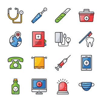 Hospital accessories icons pack