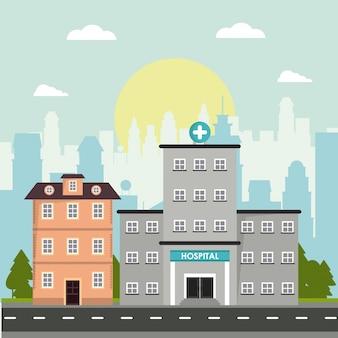 병원과 집 건물 이야기 외관 건축 도시