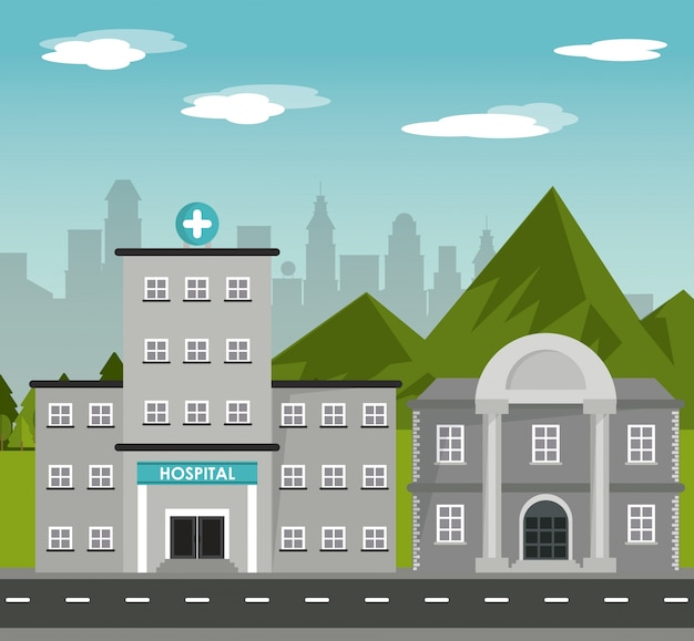 Hospital bank building landscape mountains city background