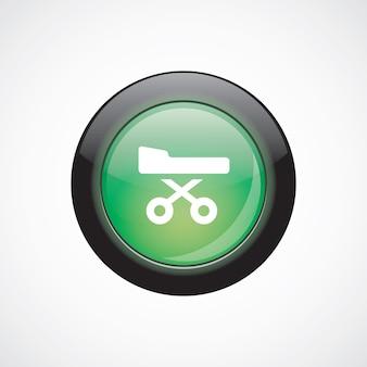病院のベッドのガラスのサインアイコン緑の光沢のあるボタン。 uiウェブサイトボタン