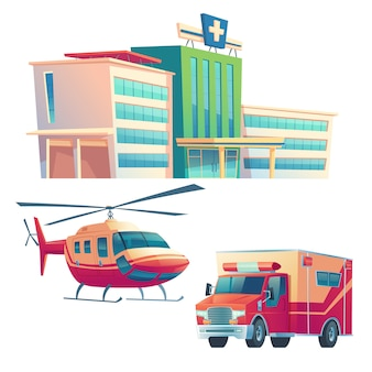 Hospital building, ambulance car and helicopter