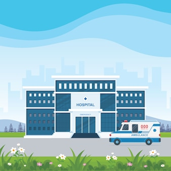 Hospital building  and ambulance with beautiful landscape vector illustration