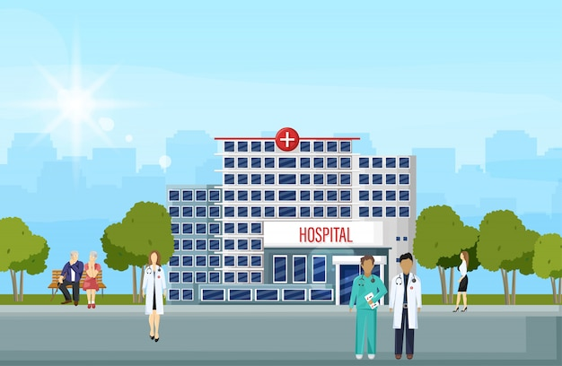 Здание больницы и люди плоский стиль