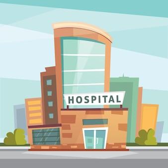 病院の建物の漫画のモダンなイラスト