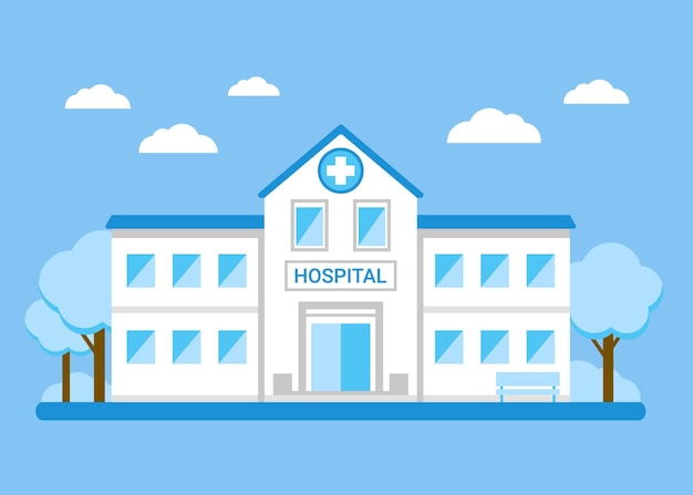 Hospital building exterior flat illustration