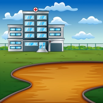 Hospital building on green landscape