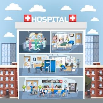 병원 건물 내부. 의사 사무실 및 수술실