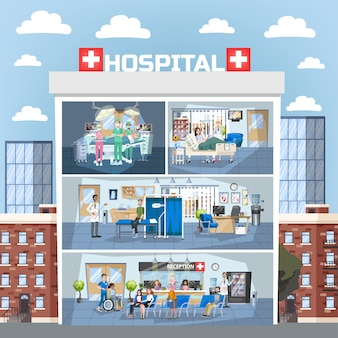 Hospital building interior. doctor office and surgery room