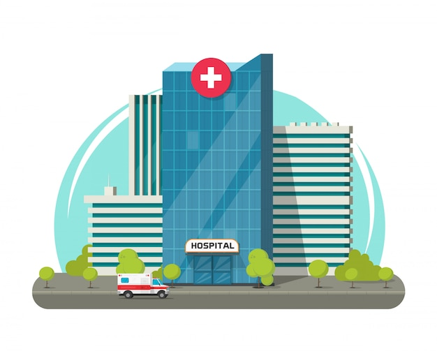 Hospital building isolated or  modern medical clinic center   clipart
