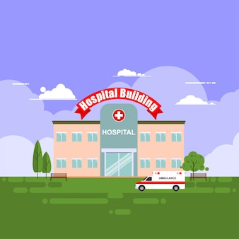 Hospital building, medical center, vector illustration