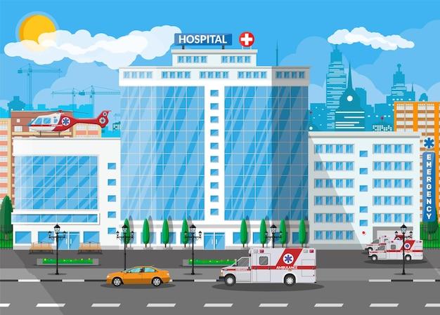 Здание больницы, медицинский значок. здравоохранение, больница и медицинская диагностика. экстренные и аварийные службы. дорога, небо, дерево. автомобиль и вертолет. векторная иллюстрация в плоском стиле