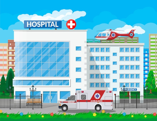Hospital building, medical icon.