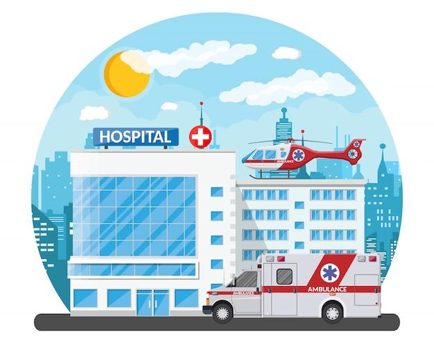 病院の建物、医療アイコン。
