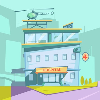 Hospital building retro cartoon with helicopter and transparent windows vector illustration