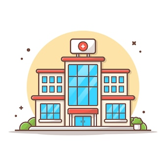 Hospital building vector icon illustration. building and landmark icon concept white isolated