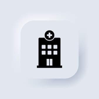 Hospital building vector icon. medical clinic icon. neumorphic ui ux white user interface web button. neumorphism. vector eps 10.