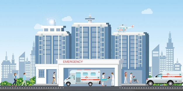 Hospital building with ambulance car and medical emergency chopper helicopter medical.