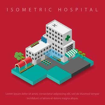 Здание больницы с вертолетной площадкой на крыше изометрично