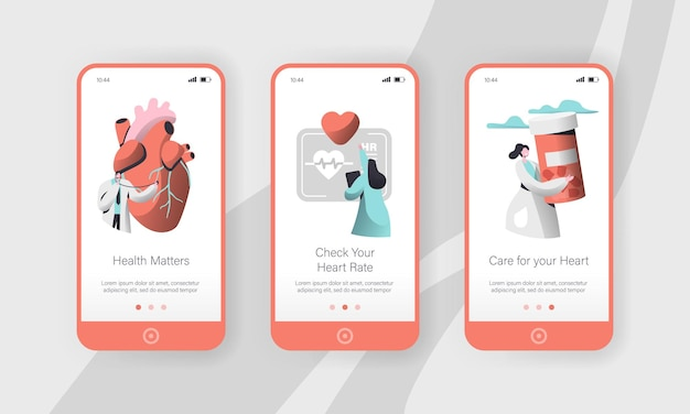 Hospital cardiology worker care heart health mobile app page onboard screen set template.