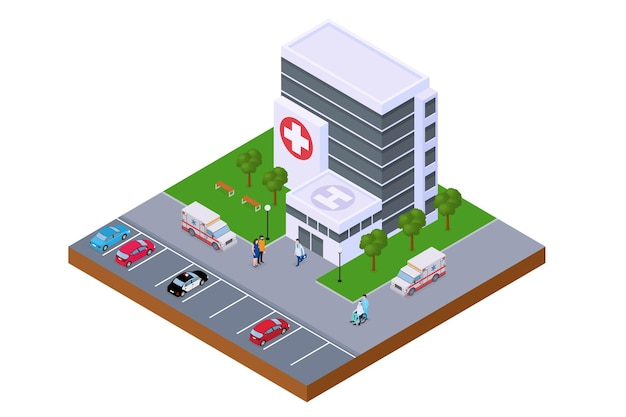 Hospital center isometric emergency building vector illustration ambulance car near modern clinic me...