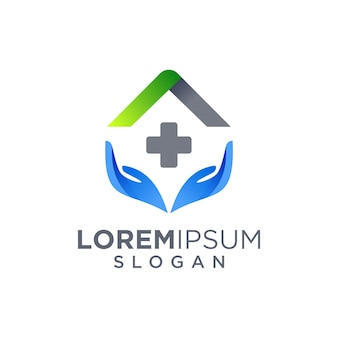 Hospital, clinic, home care logo design