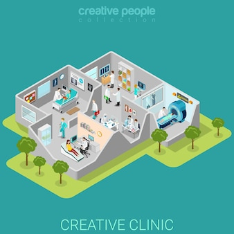 Hospital clinic interior rooms flat isometric
