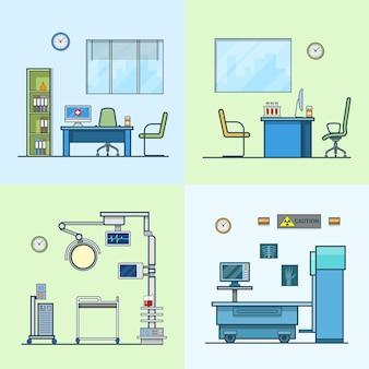 病院クリニック医療薬局手術室x線レントゲンドクターキャビネット室内室内セット。線形ストロークアウトラインフラットスタイルアイコン。カラーアイコンコレクション。