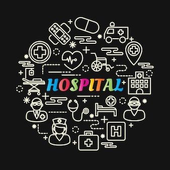 Hospital colorful gradient with line icons set