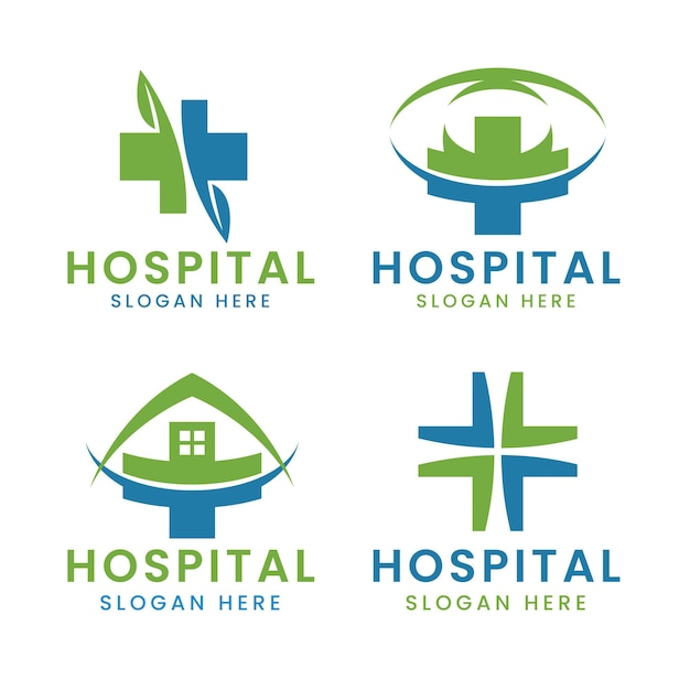Hospital cross logo set with modern colorful health elements
