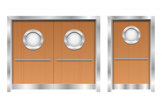 Больница двойные двери дизайн иллюстрация на белом фоне