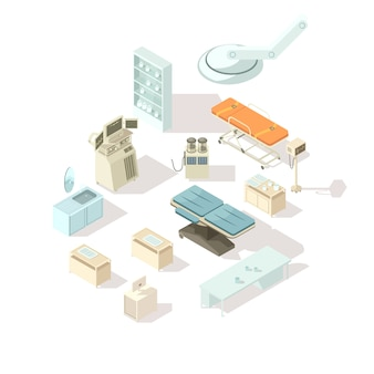 Hospital equipment isometric set