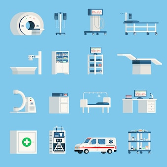 Hospital equipment orthogonal flat icons