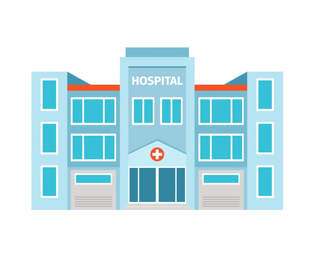 Hospital flat building isolated. vector illustration