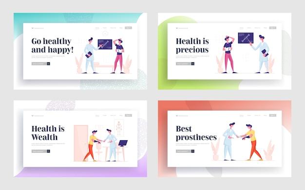 치료 및 의료 지원을위한 병원 웹 사이트 랜딩 페이지 세트