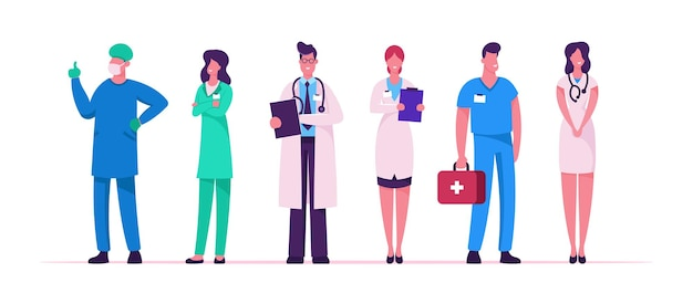 Hospital healthcare staff set, doctors in medical robe with stethoscope holding notebook, surgeon character in uniform, nurse clinic, medicine profession occupation cartoon flat vector illustration