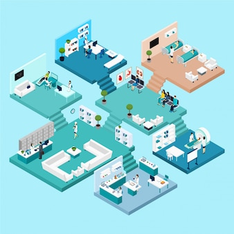 Hospital icons isometric scheme with different cabinets and rooms