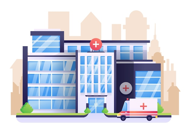 Hospital illustration, a healthcare building with city as background.