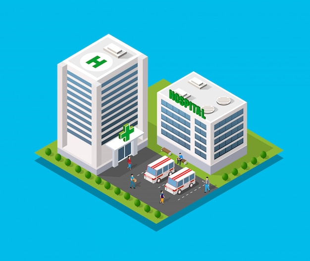 Hospital isometric 3d building