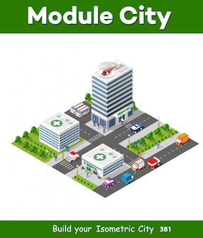 Isometric city constructor with hospital building Vector | Free Download