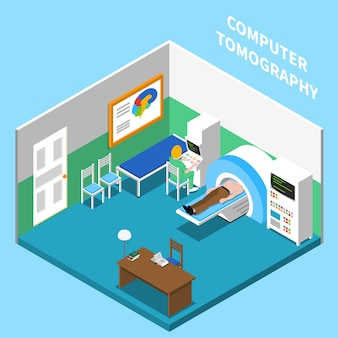 Hospital isometric interior composition with view of room equipped with computer tomography medical apparatus with text